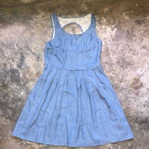 Light blue polka dot denim with lace open back.